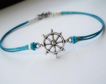 Nautical bracelet, waxed cord bracelet, gift for sailor turquoise bracelet, nautical jewelry, ship wheel bracelet, friendship bracelet