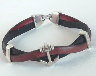Leather Bracelet double strand two-tone, Brown and black metal anchor