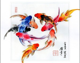 Fine Art, Painting, Home Decor, Gift, Print, Samuelsart, Present, Wall Decor, Giclee Print, Art, Artwork, Koi Fish, Fish, Oriental