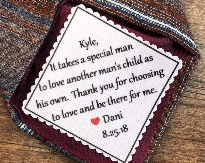 """Featured listing image: STEPDAD GIFT - STEPFATHER of the Bride Tie Patch, Sew, Iron, 2.5"""" or 2"""" Patch, It Takes a Special Man to Love Another Man's Child As His Own"""