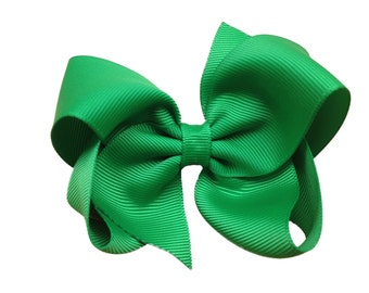 Green hair bow - hair bows, hair bows for girls, boutique bows, girls hair bows, hair clips, toddler bows, bows, big hair bows, hairbows
