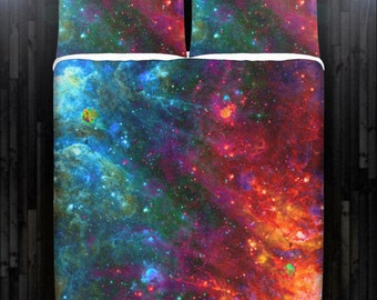 Fire Ice Outer Space Galaxy Bedding Duvet Cover Queen Comforter King Twin XL Size Blanket Sheet Set Baby Crib Toddler Daybed Kids Bed