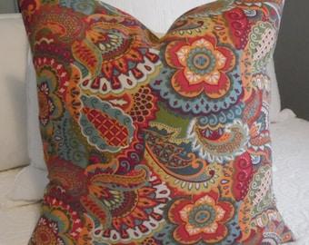 18x18 Garnet.Blues.Orange.Green.Cream.Floral Mix Pillow Cover.Slip Cover.Home Decor Pillow Covers.Floral Patchwork.Fall Decor