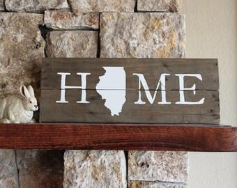 Illinois Home, Illinois State Sign, IL Sign, Illinois Artwork, Rustic Illinois Sign, Wooden Illinois , Wood Illinois Sign, Illinois Wall Art