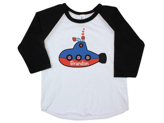 Submarine Boy Valentine Shirt Onesie Red Raglan Sub Heart Shirt Valentine's Day Boy Shirt Boy Baby Onesie Boy Bodysuit Boy Raglan