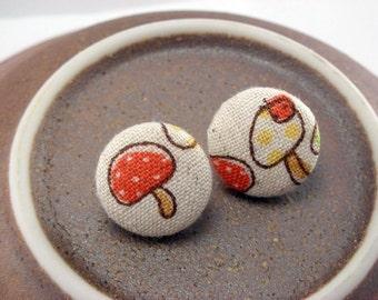 Lil Orange Shroom Japanese Mushroom Fabric Button Post Earrings