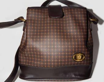 Liz Claiborne cross body bag vegan, vintage shoulder bag brown, eco-friendly