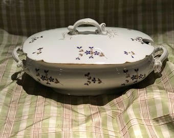 Antique French Soup Tureen Limoges Marie Antoinette Blue Cornflower Circa 1905 Sevres Cottage Style China Dishes