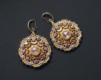 Purple and Gold Earrings, Mandala Earrings, Beaded Swarovski Earrings, Beaded Rosette Earrings, Boho Chic Dangles, Pink  Gold Earrings