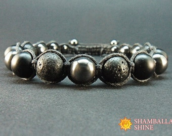 Clothing gift Black gemstone Man jewelry Shungite bracelet Lava beads Hematite gemstone Dark men bracelet Calming Bracelet Contemporary