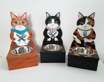 Cat Feeder - Custom Made Cat Food Bowl - Cat Food Dish - Custom Cat Portrait Cat Bowl - Your Cat Feeding Stand