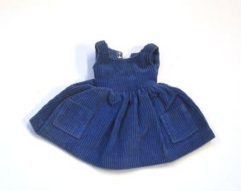 "Vintage 1960s IDEAL Toys Fashion Doll TAMMY Misty 1963 Outfit Blue Corduroy ""Cutie Co-ed"" Coed Dress Jumper Appliqué Pockets BS-12 Japan"