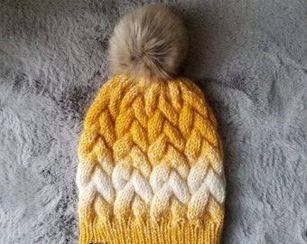 Braided cable beanie, braided cable hat, cable knit hat , faux fur pom pom hat |THE HOLLISTON| women's hat, ski hat, winter hat
