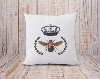Bee pillow -bee with crown pillow-bee pillow cover-french pillow-rustic pillow-insect pillow-home decor-decorative pillow-bee-bees-NPCP006