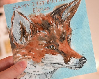 Fox Personalised Greeting Card, Birthday Card, Age Cards, Wildlife, Foxes, Greeting Cards, Special Birthday Card, Red Fox, Personalised Card