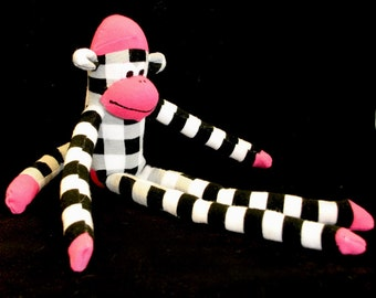 Sock Monkey, checkered print with pink