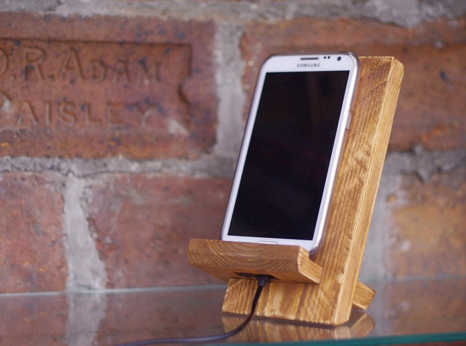wooden docking station iphone stand rustic phone stand. Black Bedroom Furniture Sets. Home Design Ideas
