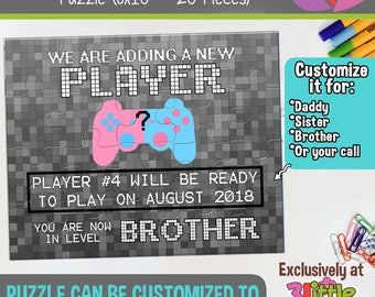 Gamer Brother Personalized Pregnancy Announcement Puzzle - Funny Pregnancy Announcement - Gamer Sister Pregnancy Announcement