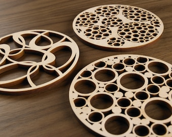 Hardwood Graphic Coasters - Tubes Series