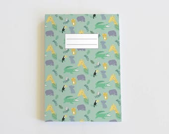 Note book 64 pages - jungle design - stapled notebook made with recycled paper - jungle illustration