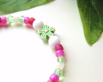 Red, Pink, White and Green Girls Bracelet with Green flowers, Beaded Bracelet, Large, GBL 121