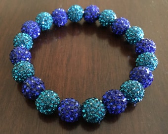 Teal and Royal Blue Shamballa Bracelet