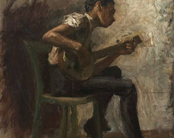 Thomas Eakins : The Banjo Player (1877) Canvas Gallery Wrapped Wall Art Print