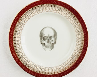 Skull Cake Tea Plate Burgundy Gold Flowers Pattern White Vintage China Made in England Wedding Anniversary Gift Wall Art Collage