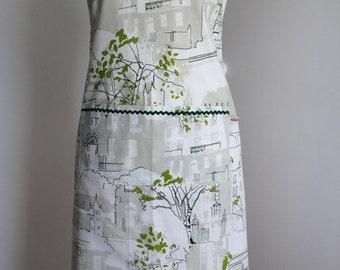 Ladies Apron, Full Apron, Women's Apron made from linen fabric with prestigious Brompton Road print.