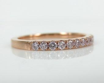 Half-Eternity Natural Pink Diamond Pave Wedding Band - Stacking Bands