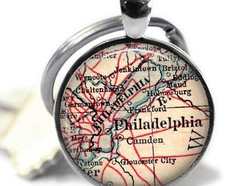 Dad Gift, Philadelphia Pennsylvania Keychain, Map Keychains, Gift for Him, Daddy Gift, Personalized Gift, Mens Keychain, Dad's Gift, A276