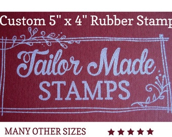 """Custom Rubber Stamp, Logo Stamp, Packaging Rubber Stamp, 5"""" x 4"""" Wood Mounted"""