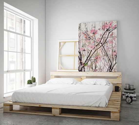 "Here's The Spring, Pink Flowers Blooming Tree Rustic Canvas Art, landscape art, spring tree canvas up to 72"" by Irena Orlov"
