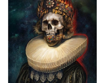 Cosmic King, fantasy art print, sainted skull portrait painting in renaissance style