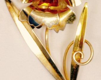 Antique Flower Brooch gold over Sterling marked amber stone