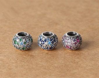 1pc Thai Silver Big Hole Charm Spacer Bead, Sterling Silver Zircon Europe Bead, Micro Setting (CY093)