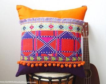 Orange Pillow Aztec Purple - Vibrant Ethnic Mexican Gypsy Cushion Cover Boho Home Decor