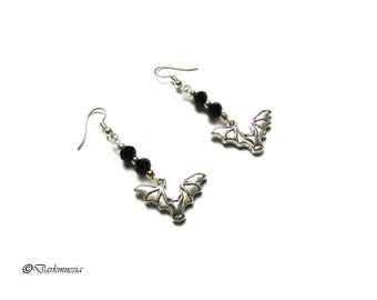 Earrings, crystal, beads, black, bat, vampire, goth, gothic, gift, woman