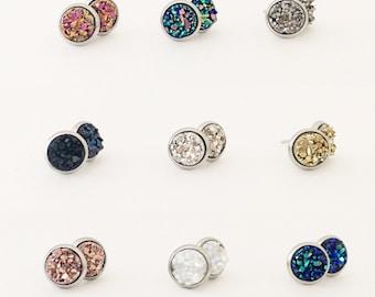Druzy Stud Earrings, Stone Jewelry, Earrings, Faux Druzy Earring, 8mm stud earring