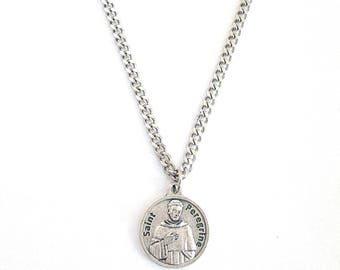 St peregrine patron saint of cancer medal w capsule of st st peregrine medal pendant necklace patron saint cancer 24 chain italy saint peregrine silver mozeypictures Image collections