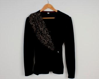 Black Velvet Jacket Women Cardigan Vintage Classy Style Business Jacket Long Sleeve Jacket