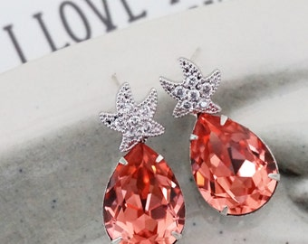 Starfish - Cubic Zirconia Starfish Earrings Swarovski Pink Crystal Teardrop, Bridal, Beach Wedding Earrings, Bridesmaids, silver