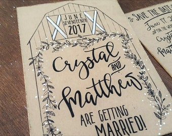 barn wedding save the date postcard hand painted wedding farm wedding save the date barn wedding save the date card