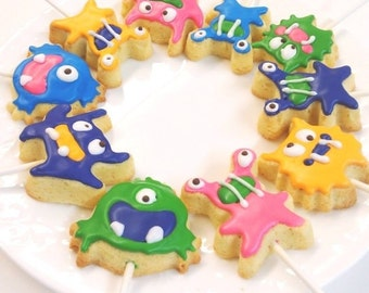 Monster Cookies -Cute Adorable Hand Decorated Sugar Cookies Perfect for Birthday, Baby Shower - 12 cookies