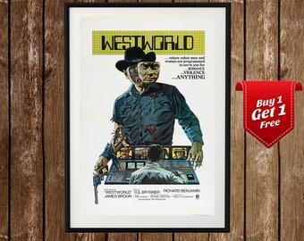 Westworld (1973) Vintage Movie Poster - James Brolin, Yul Brynner, Richard Benjamin, Sci-Fi Old Movie, Dystopian Film, Retro Film Art