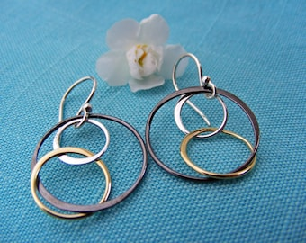 Circle Earrings, Hoop Earrings, Mixed Metal Earrings, Everyday Earrings, Dangle Earrings, Drop Earrings