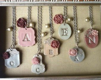 Bridesmaids Necklaces - Mist - Variations in grey, silver and mauve- Set of 7