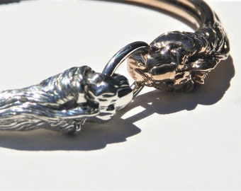 Sterling Silver & Brass Lions Head Bracelet ~ Double Lion Mouth Clasp Unique Bracelet