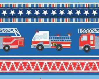 Blue Firehouse Village Stripe Cotton Fabric from the Firehouse Friends Collection by Benartex, Dalmatians, Firehouse Dog, Firemam Fire Truck