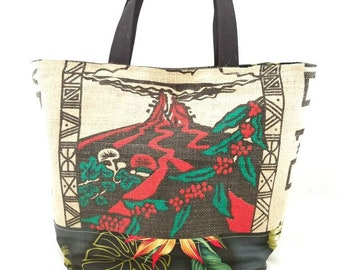 Large Tote - Kona Coffee Recycled Tote Bag - Hawaii Volcano - Pele
